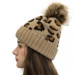 FH054 Leopard Pattern Beanie & Pony Tail Hat w/Mask Hook, Camel