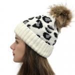 FH054 Leopard Pattern Beanie & Pony Tail Hat w/Mask Hook, Ivory