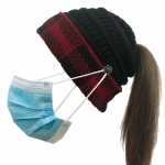 FH056 Solid & Plaid Pony Tail Beanie W/mask Hook Hat, Red
