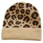 FH058 Leopard Pattern Wool Blend Beanie, Beige