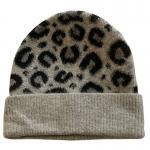 FH058 Leopard Pattern Wool Blend Beanie, Grey