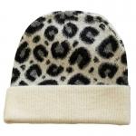 FH058 Leopard Pattern Wool Blend Beanie, Ivory