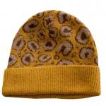 FH058 Leopard Pattern Wool Blend Beanie, Mustard