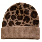FH058 Leopard Pattern Wool Blend Beanie, Taupe