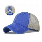 FH069 Solid Color Mesh Baseball Cap, Blue