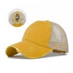 FH069 Solid Color Mesh Baseball Cap, Yellow