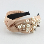 FH2011 Solid Color & Big Pearls Wide Headband, Beige