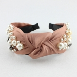 FH2011 Solid Color & Big Pearls Wide Headband, Indie Pink