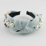 FH2011 Solid Color & Big Pearls Wide Headband, Light Blue