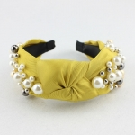 FH2011 Solid Color & Big Pearls Wide Headband, Yellow