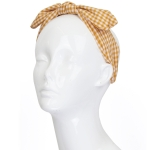 FHE0238Y Checker Twisted Bow-tie Headband
