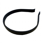 FHW006 Solid Color Faux Leather Headband, Black