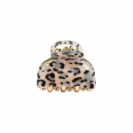 FHW061 Mini Leopard Pattern Hair Claw, Grey (3 pcs in a set)