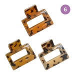 FHW069 Mini Square Leopard Pattern Hair Claw - 6 pcs in a set