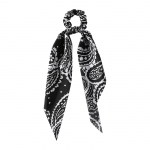 FHW074 Stylish Paisley Pattern Scrunchies, Black