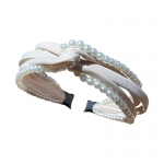 FHW102 Solid Color & Pearl Headband, Beige
