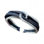 FHW102 Solid Color & Pearl Headband, Black