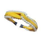 FHW102 Solid Color & Pearl Headband, Mustard