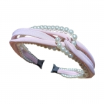 FHW102 Solid Color & Pearl Headband, Pink