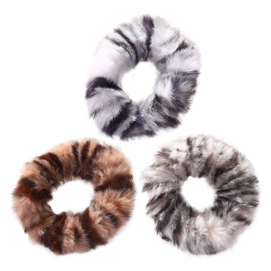 FHW104 Animal Pattern Fuzzy Hair Scrunchies
