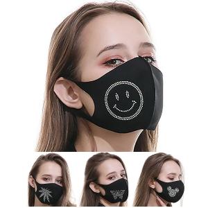 MFM-002 Rhinestone Studded Resuabel Mask - Dz
