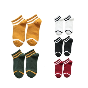 FO004 Solid Color with Stripes Pattern Socks (10pcs/pack)
