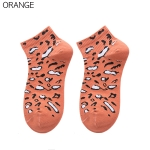 FO005 Leopard Pattern Low-ankle Socks, Orange(6pcs/pack)
