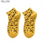 FO005 Leopard Pattern Low-ankle Socks, Yellow(6pcs/pack)