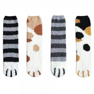 FO008 Cat Print Soft Plush Socks