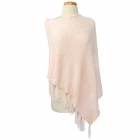 FP011 Solid Chenille Poncho with Fringes - Ivory