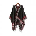 FP041 Tribal Triangle Patterns Poncho, Black