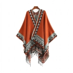 FP041 Tribal Triangle Patterns Poncho, Brown