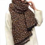 FS001 Leopard Pattern Over-sized Scarf- Brown