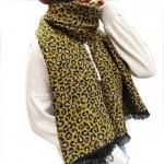 FS001 Leopard Pattern Over-sized Scarf- Mustard