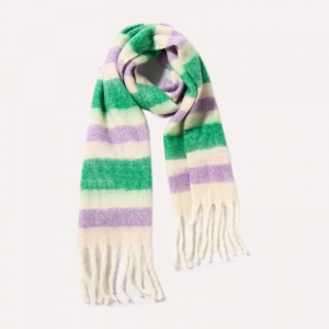 FS019 Color Blocks Pattern Oversized Scarf, Green