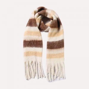 FS019 Color Blocks Pattern Oversized Scarf, Taupe