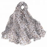 FS027 Sheer Cheetah Pattern Scarf, Grey