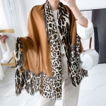 FS028 Solid Color w/Leopard Pattern Scarf, Coffee