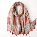 FS033 Multi Abstract Pattern Tassels Scarf