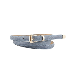 FSA001 Faux Leather Solid Color Belt, Blue