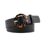 FSA003 Solid Color Faux Leather Belt w/Tortoise, Black