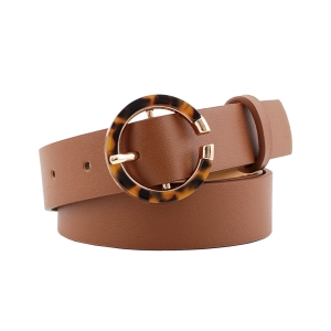 FSA003 Solid Color Faux Leather Belt w/Tortoise, Camel