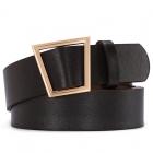 FSA010 Solid Color Faux Leather Belt - Black