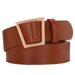 FSA010 Solid Color Faux Leather Belt - Brown