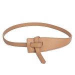 FSA013 Solid Color Faux Leather Obi Belt - Beige