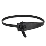 FSA013 Solid Color Faux Leather Obi Belt- Black