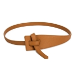 FSA013 Solid Color Faux Leather Obi Belt- Camel