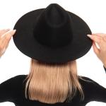 H3027 Simple Wool Felt Rancher Hat, Black