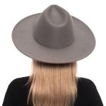 H3027 Simple Wool Felt Rancher Hat, Grey