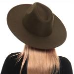 H3027 Simple Wool Felt Rancher Hat, Olive